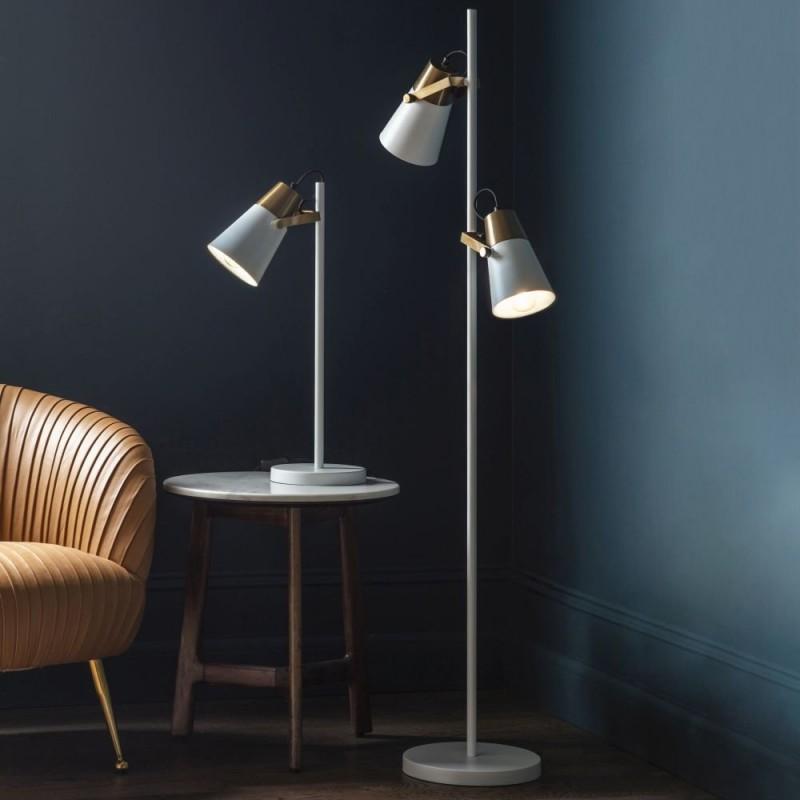 Endon-95473 - Gerik - White with Aged Brass Desk Lamp