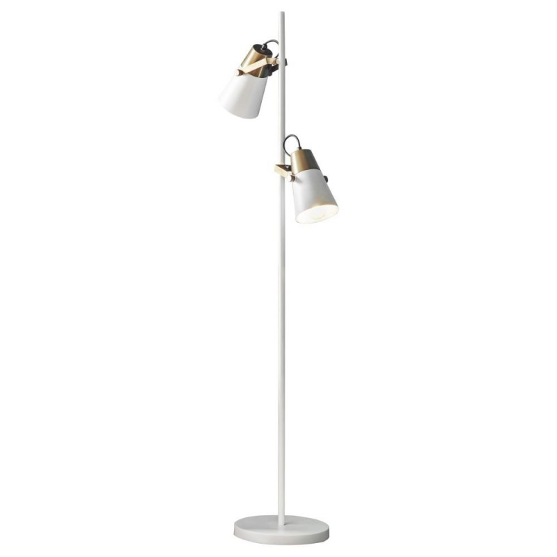Endon-95474 - Gerik - White with Aged Brass Floor Lamp