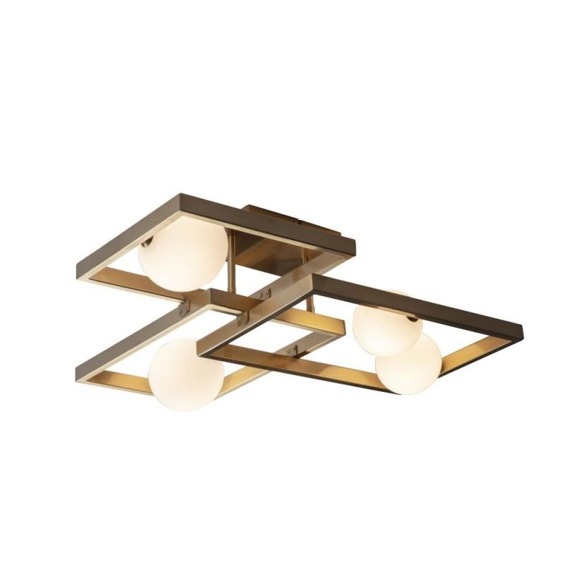 Endon-95479 - Melek - Opal Glass & Aged Brass 4 Light Semi Flush