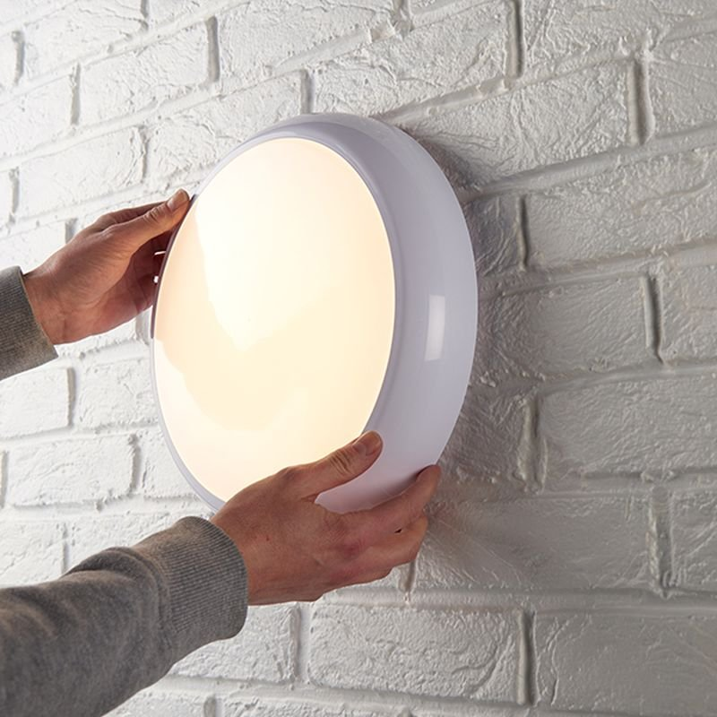 Saxby-95541 - Hero CCT - LED IP65 Gloss White Sensor Flush with Colour Changing