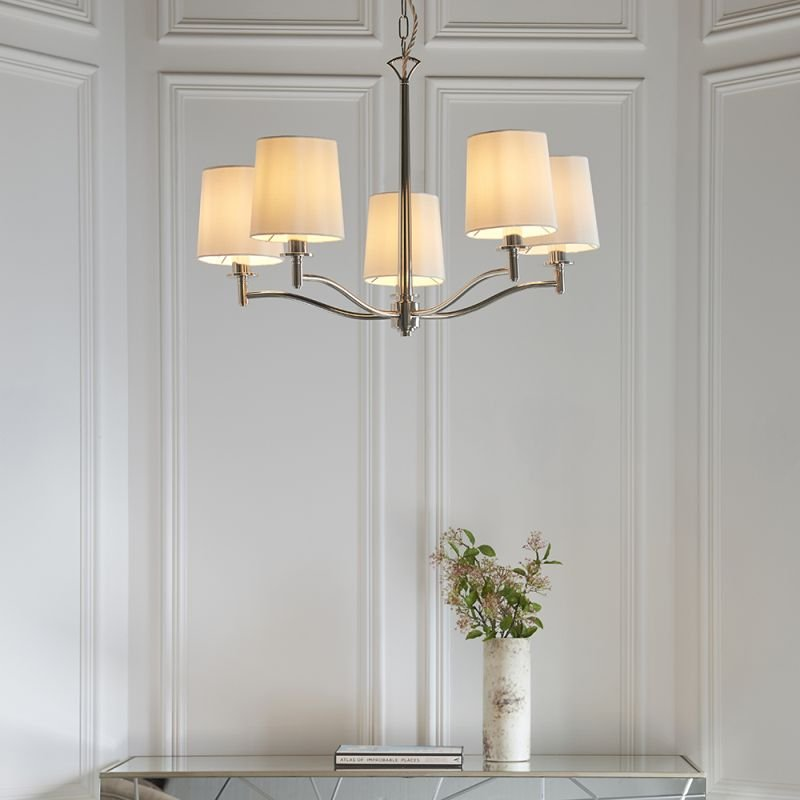 Endon-95826 - Ortona - Vintage White & Bright Nickel 5 Light Centre Fitting
