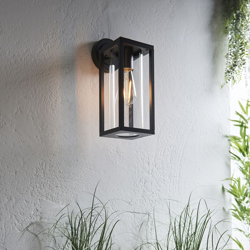 Endon-96917 - Hamden - Outdoor Clear Glass & Textured Black Wall Lamp