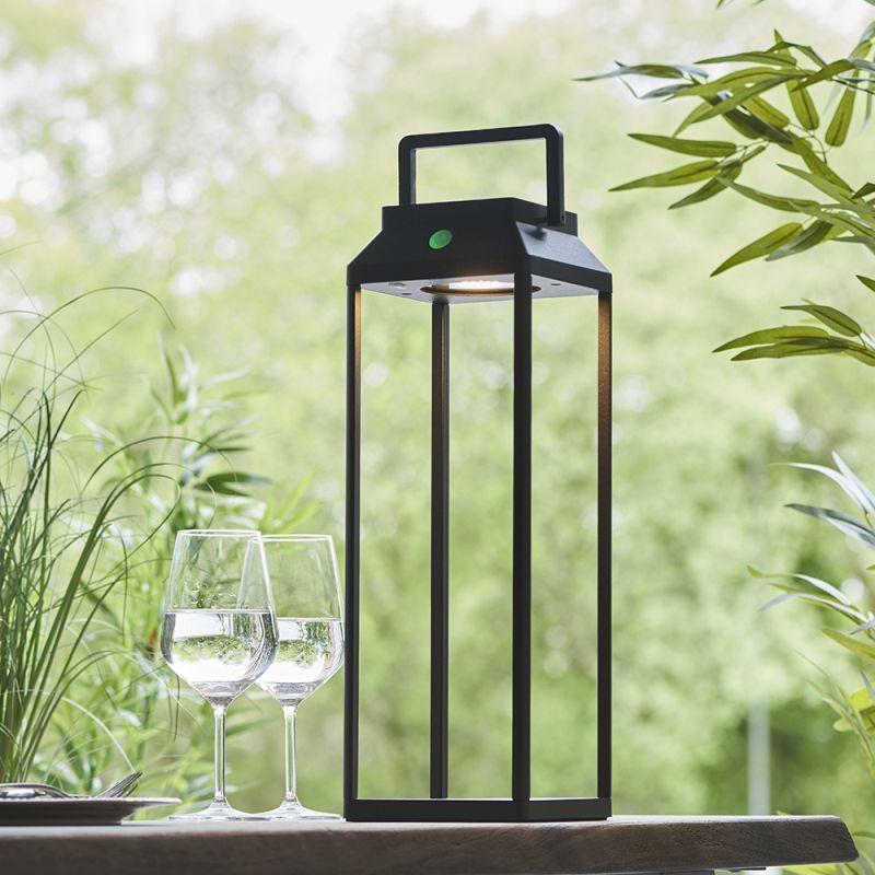 Endon-96932 - Linterna - LED Black Lantern Solar Medium Post
