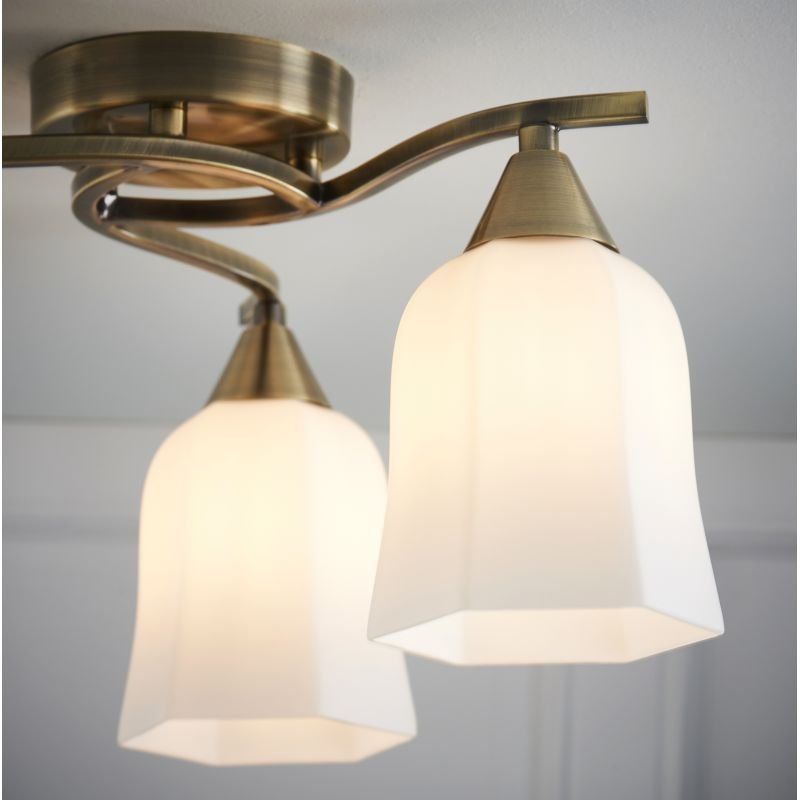 Endon-96973-AB - Alonso - Antique Brass and Opal Glass 3 Light Centre Fitting