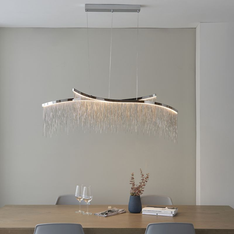 Endon-97219 - Orphelia - LED Chrome with Delicate Chains over Island Fitting