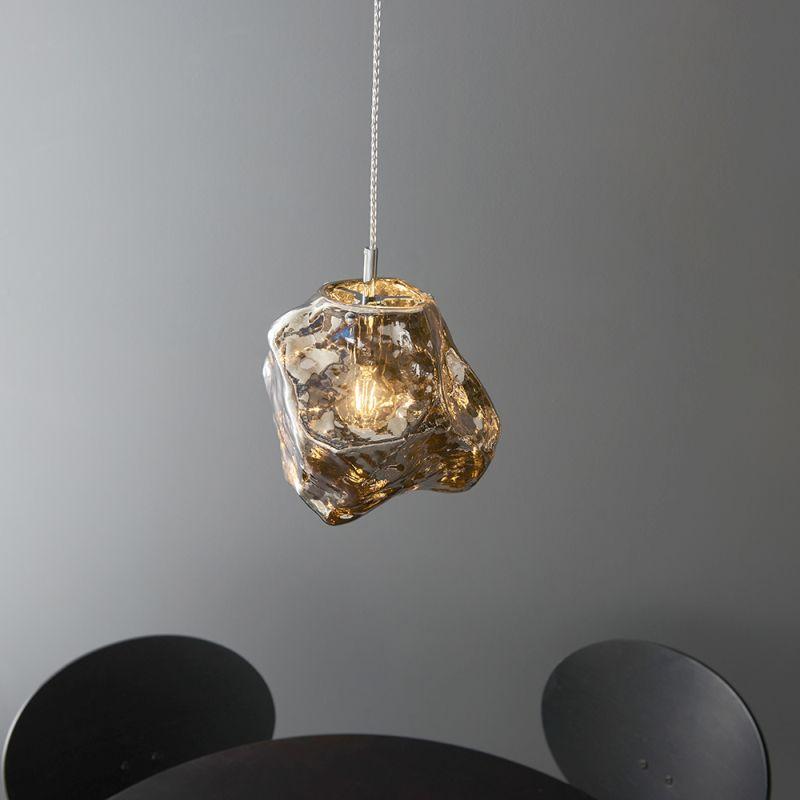 Endon-97654 - Rock - Metallic Chrome Glass & Chrome Single Pendant
