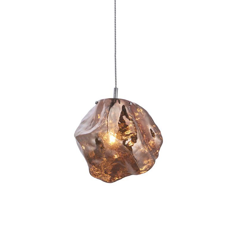 Endon-97655 - Rock - Metallic Copper Glass & Chrome Single Pendant