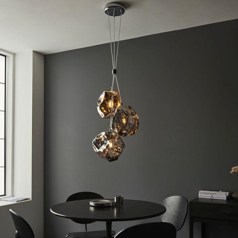 Endon-97657 - Rock - Metallic Chrome Glass & Chrome 3 Light Cluster Fitting