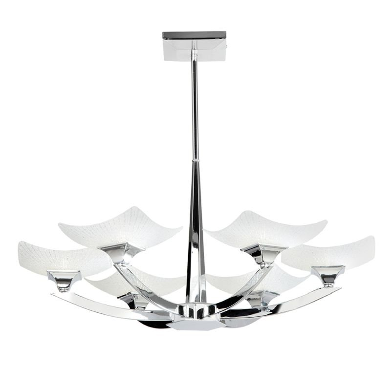 Endon-AYRES-6CH - Ayres - Decorative Glass & Chrome 6 Light Semi Flush
