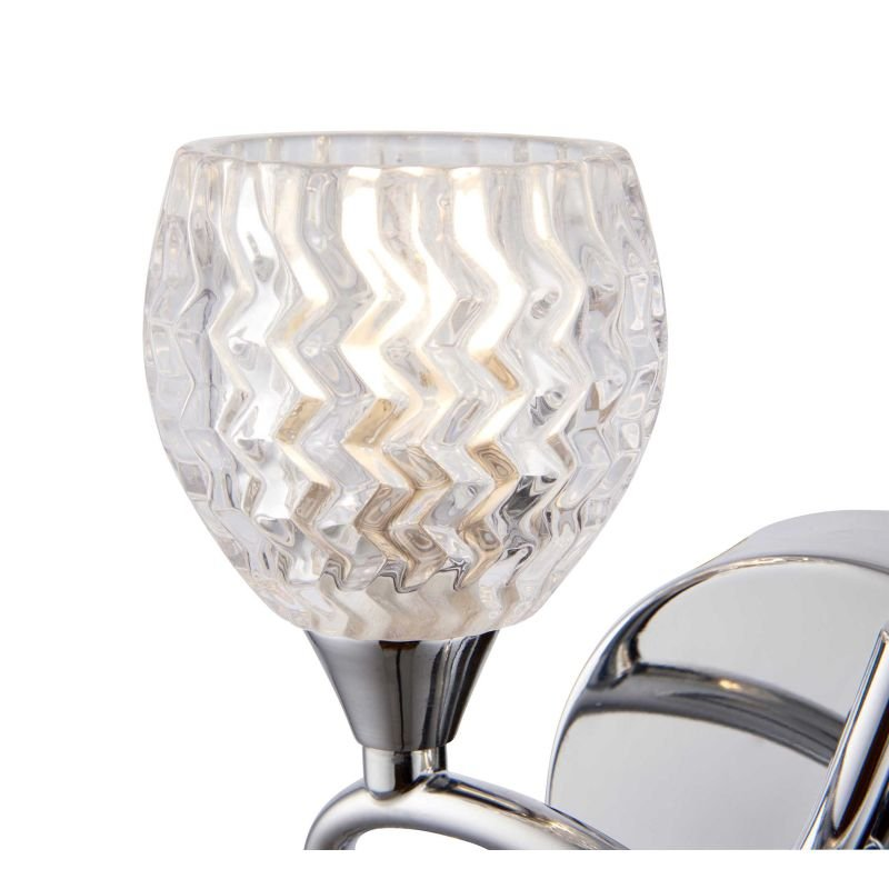 Endon-BOYER-2WBCH-L - Boyer - Chrome With Cut Clear Glass Left Twin Wall Lamp
