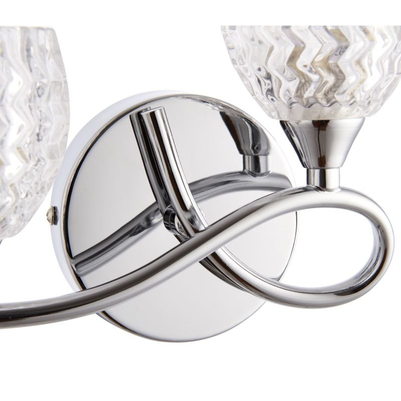 Endon-BOYER-2WBCH-R - Boyer - Chrome With Cut Clear Glass Right Twin Wall Lamp