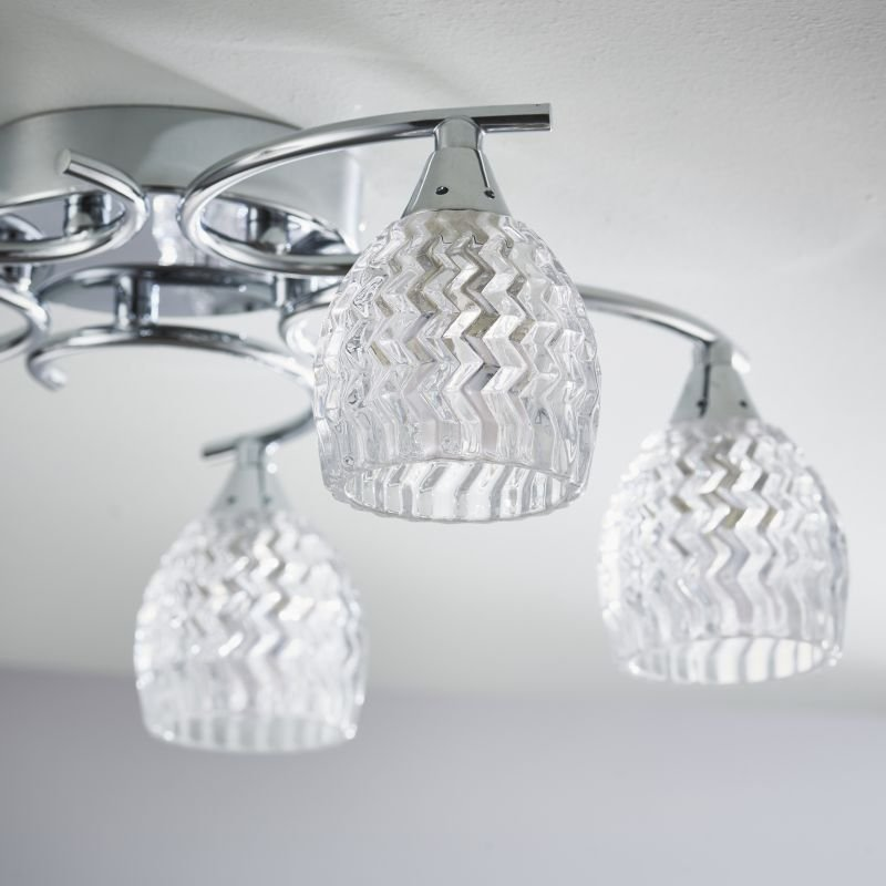 Endon-BOYER-5CH - Boyer - Chrome With Cut Clear Glass 5 Light Ceiling Lamp