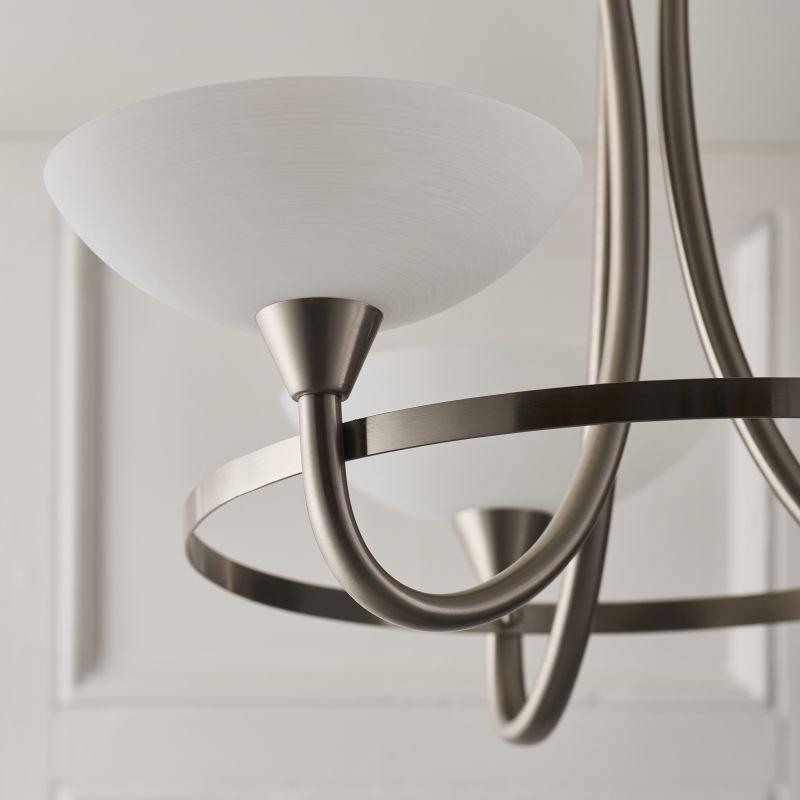 Endon-CAGNEY-3SC - Cagney - Satin Chrome & White Glass 3 Light Centre Fitting