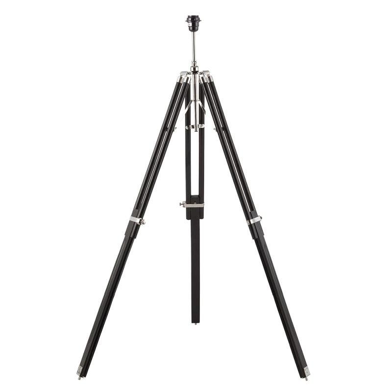 Endon-EH-TRIPOD-FLBL - Tripod - Floor Lamp Base Only - Dark Wood & Bright Nickel