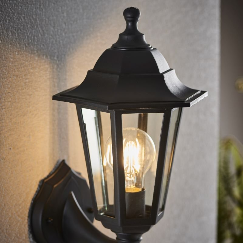 Endon-EL-40045 - Bayswater - Black with Glass Up or Downlight Lantern Wall Lamp