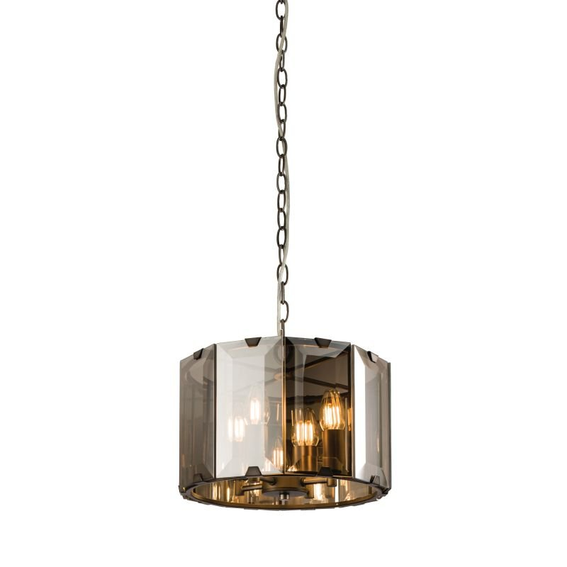 Endon-Collection-61281 - Clooney - Smoky Cut Glass & Grey 4 Light Pendant