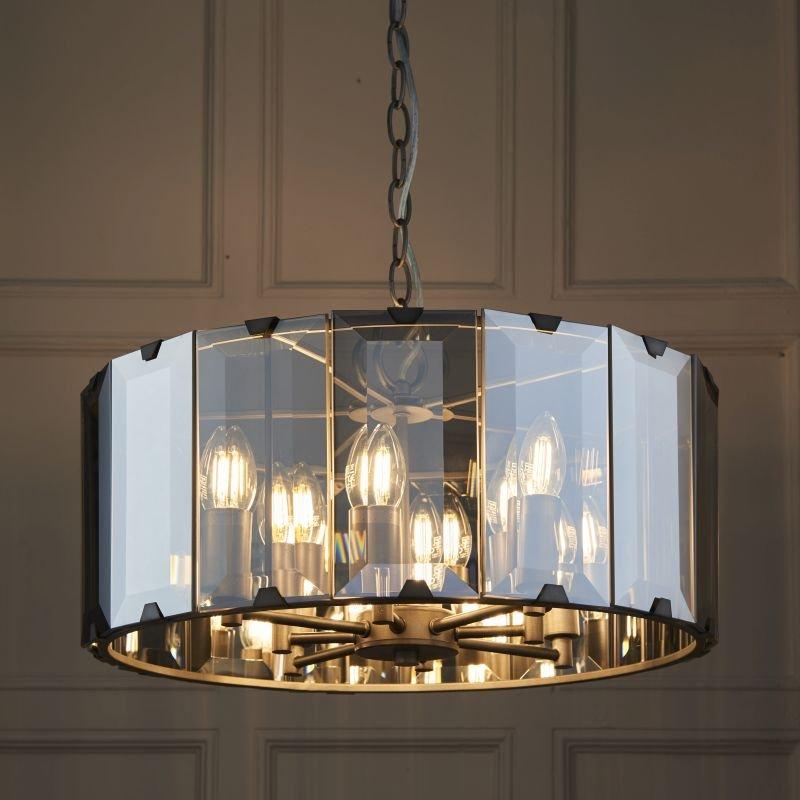 Endon-Collection-61294 - Clooney - Smoky Cut Glass & Grey 8 Light Pendant