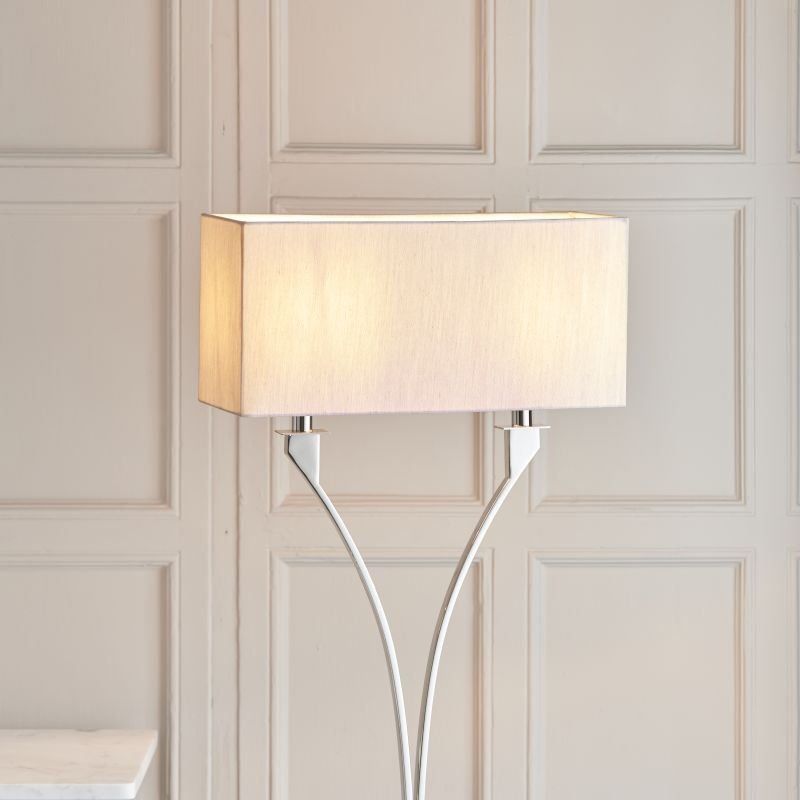 Endon-Collection-63747 - Vienna - Beige & Polished Nickel 2 Light Floor Lamp