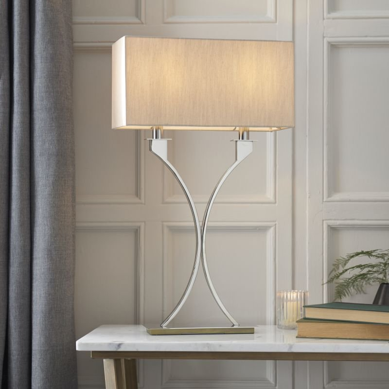Endon-Collection-63748 - Vienna - Beige & Polished Nickel 2 Light Table Lamp