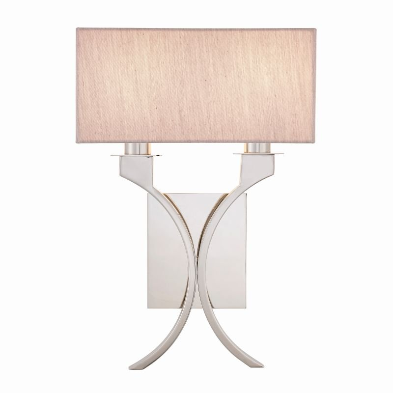 Endon-Collection-63749 - Vienna - Beige & Polished Nickel 2 Light Wall Lamp