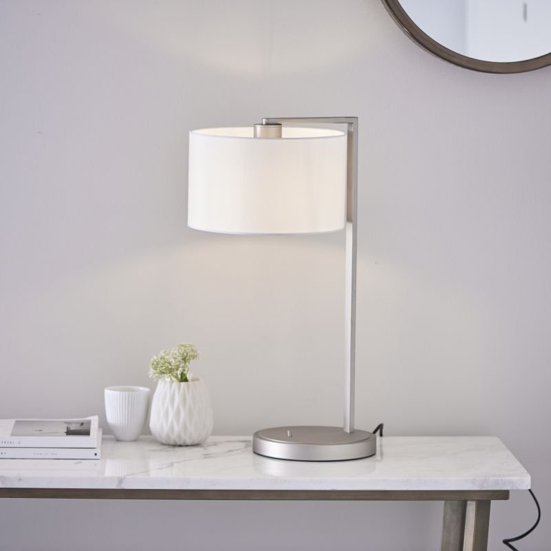 Endon-Collection-67634 - Daley - Vintage White Shade & Nickel Table Lamp