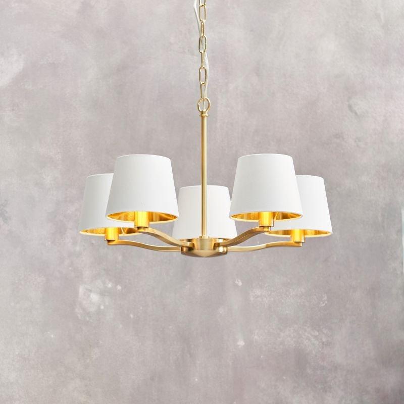 Endon-Collection-67734 - Harvey - Vintage White & Satin Gold 5 Light Centre Fitting