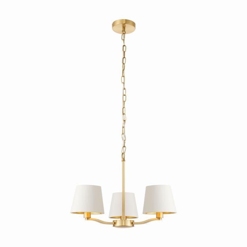 Endon-Collection-67735 - Harvey - Vintage White & Satin Gold 3 Light Centre Fitting