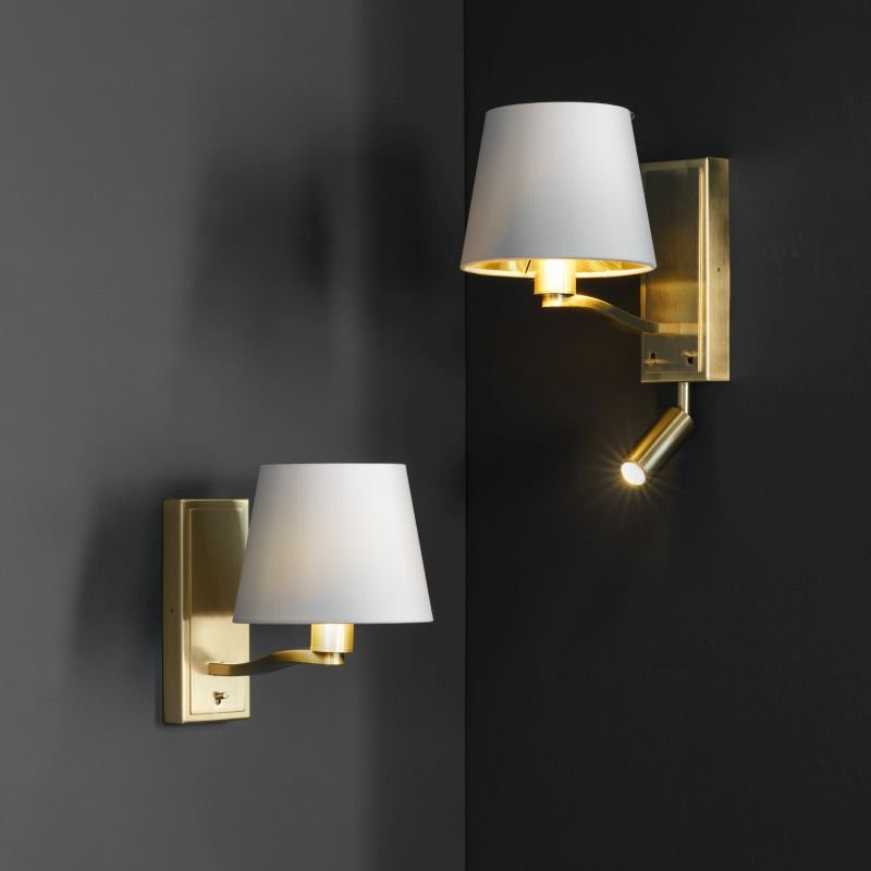 Endon-Collection-69083 - Harvey - Vintage White & Satin Gold Wall Lamp