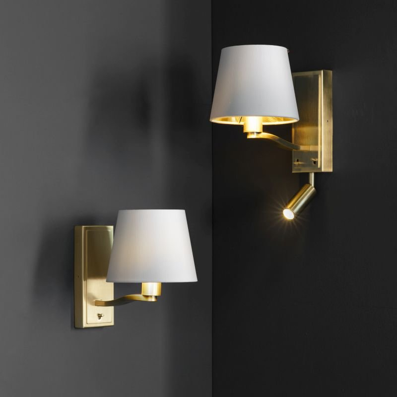 Endon-Collection-69092 - Harvey - Vintage White & Satin Gold Wall Lamp with LED