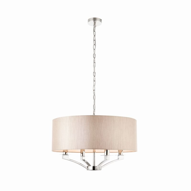 Endon-Collection-70074 - Vienna - Beige & Polished Nickel 4 Light Pendant