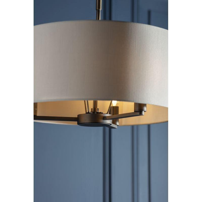 Endon-Collection-73015 - Daley - Marble Faux Silk & Antique Bronze 3 Light Pendant