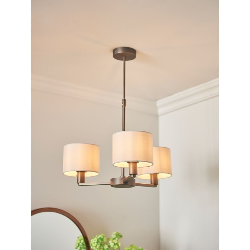 Endon-Collection-73016 - Daley - Marble Faux Silk & Antique Bronze 3 Light Centre Fitting