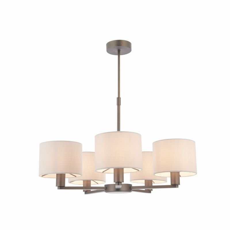 Endon-Collection-73017 - Daley - Marble Faux Silk & Antique Bronze 5 Light Centre Fitting