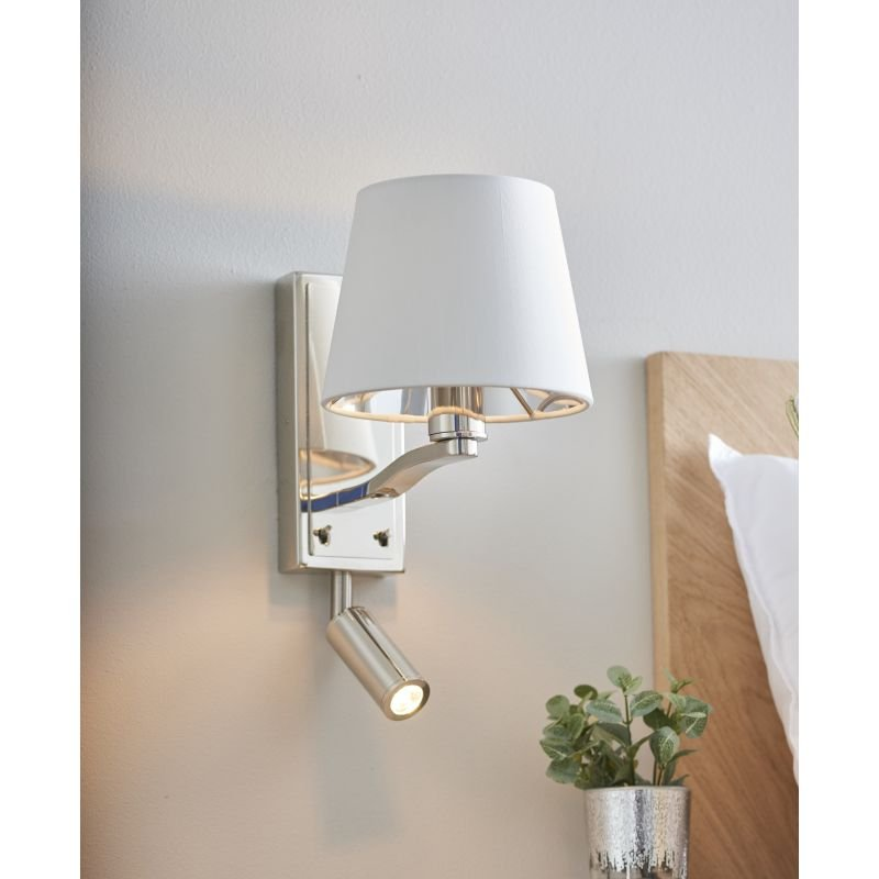 Endon-Collection-73027 - Harvey - Vintage White & Bright Nickel Wall Lamp with LED