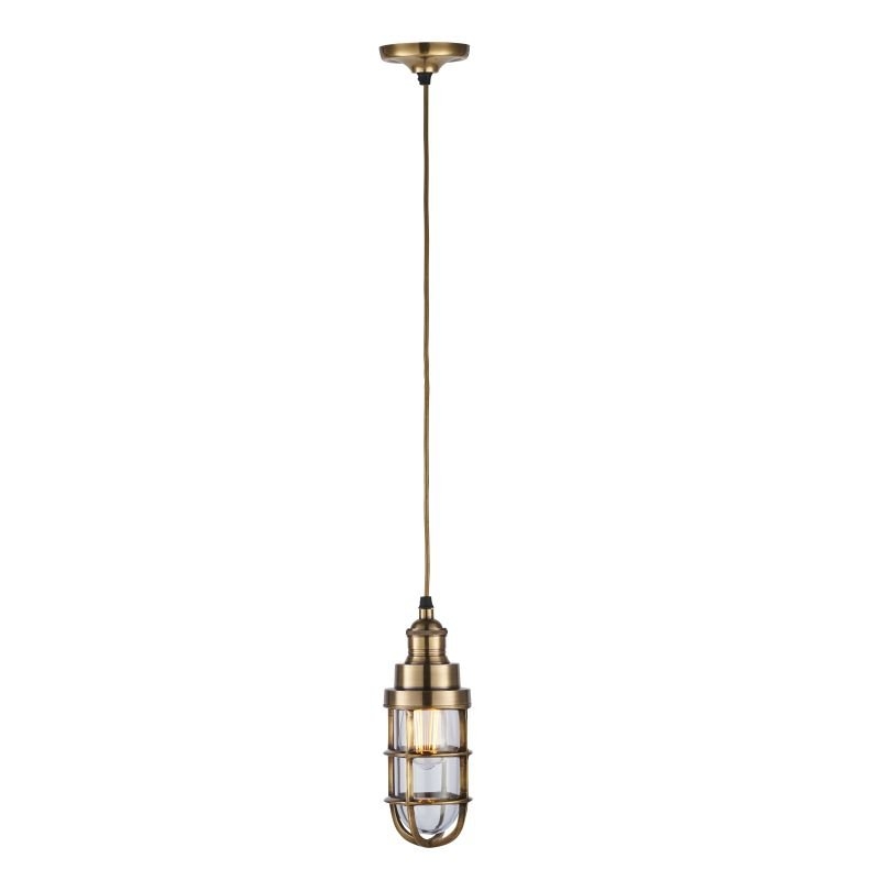 Endon-Collection-75792 - Elcot - Burnished Brass & Clear Glass Pendant