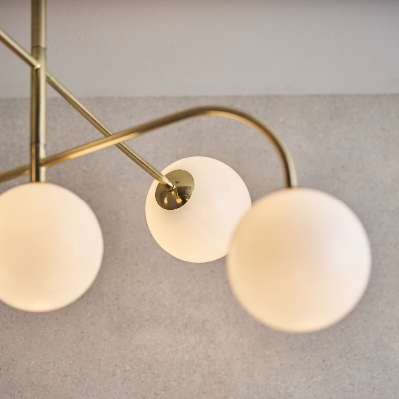 Endon-Collection-75939 - Otto - White Glass & Brushed Gold 5 Light Centre Fitting