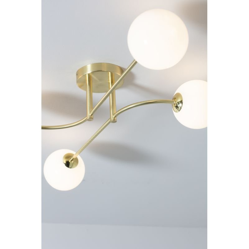 Endon-Collection-75959 - Otto - White Glass & Brushed Gold 4 Light Semi Flush
