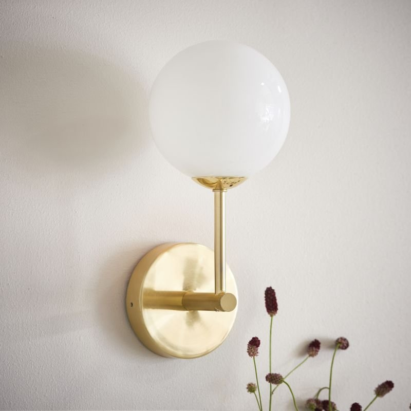Endon-Collection-75960 - Otto - White Glass & Brushed Gold Wall Lamp