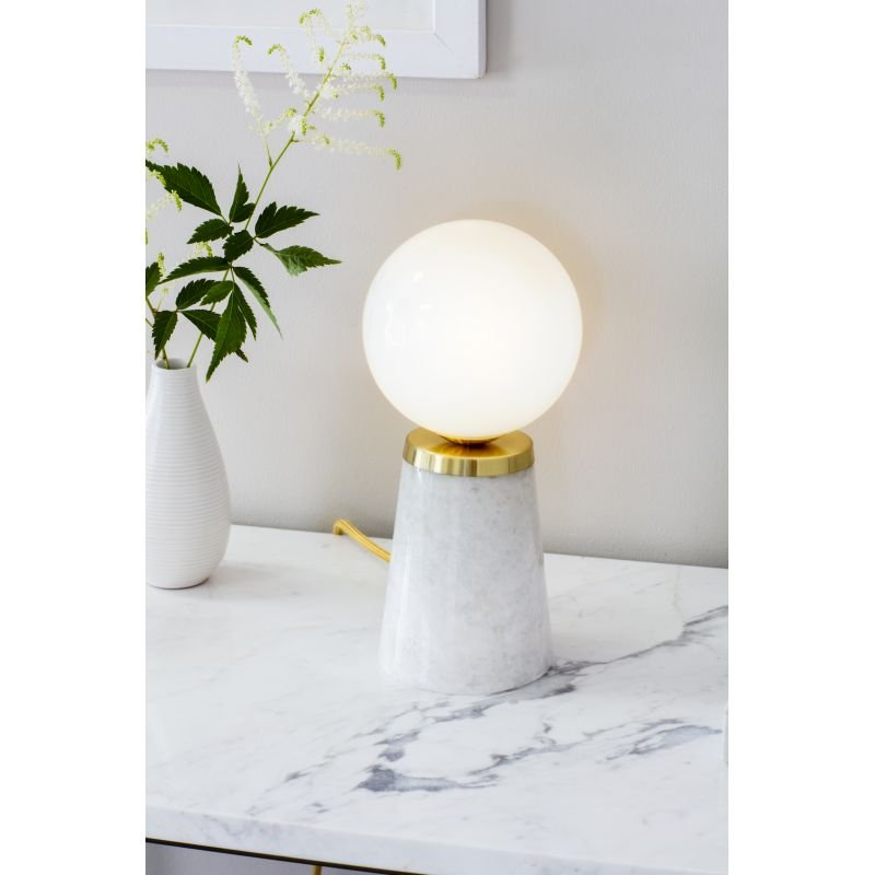 Endon-Collection-75968 - Otto - White Glass, Gold and White Marble Table Lamp