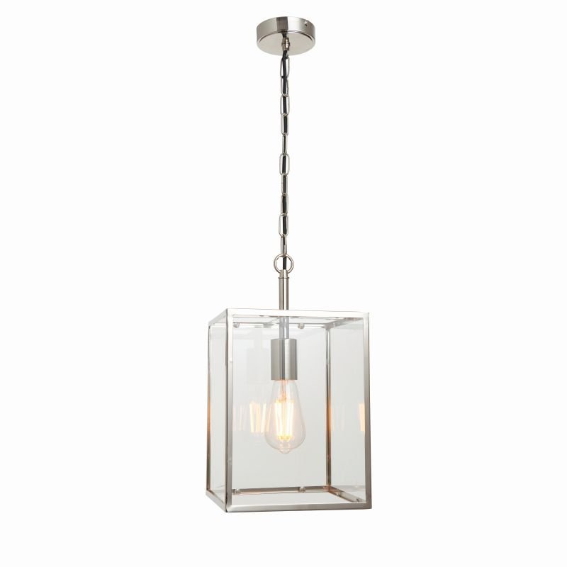 Endon-Collection-76228 - Hadden - Bright Nickel & Clear Glass Single Lantern