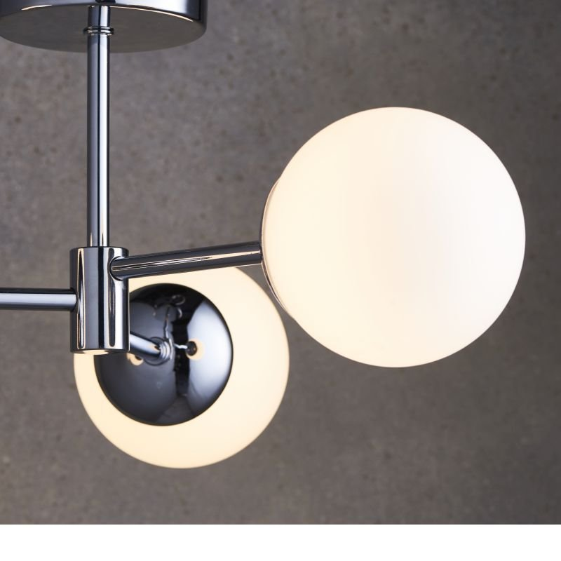 Endon-Collection-76299 - Vetro - LED White Glass & Polished Chrome 3 Light Semi Flush
