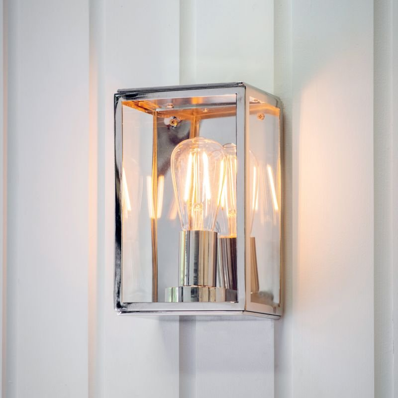 Endon-Collection-76348 - Hadden - Bright Nickel & Clear Glass Lantern Wall Lamp