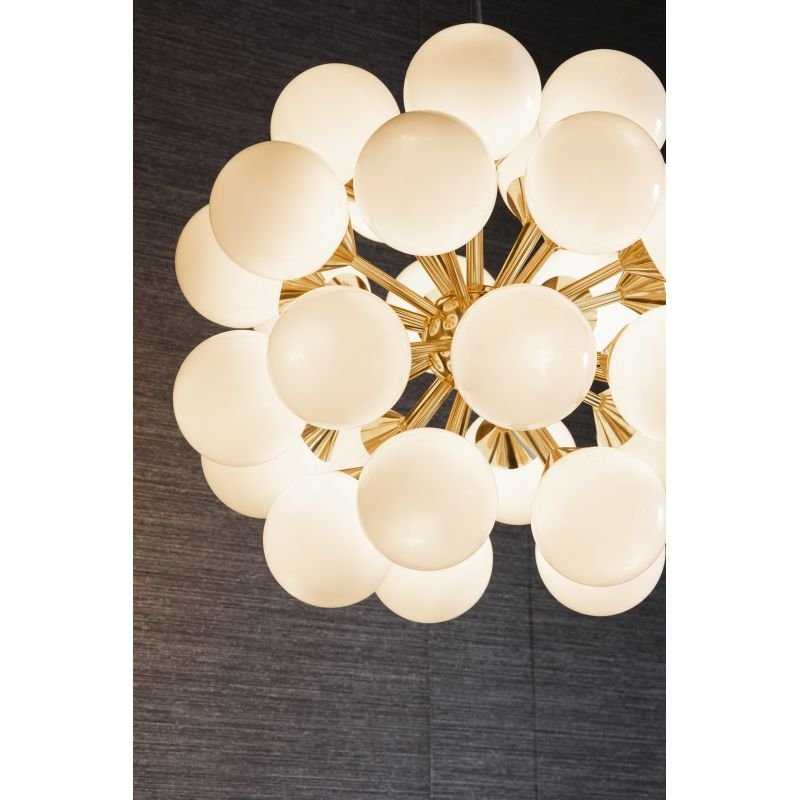 Endon-Collection-76499 - Oscar - Gloss White Glass & Brushed Gold 28 Light Centre Fitting