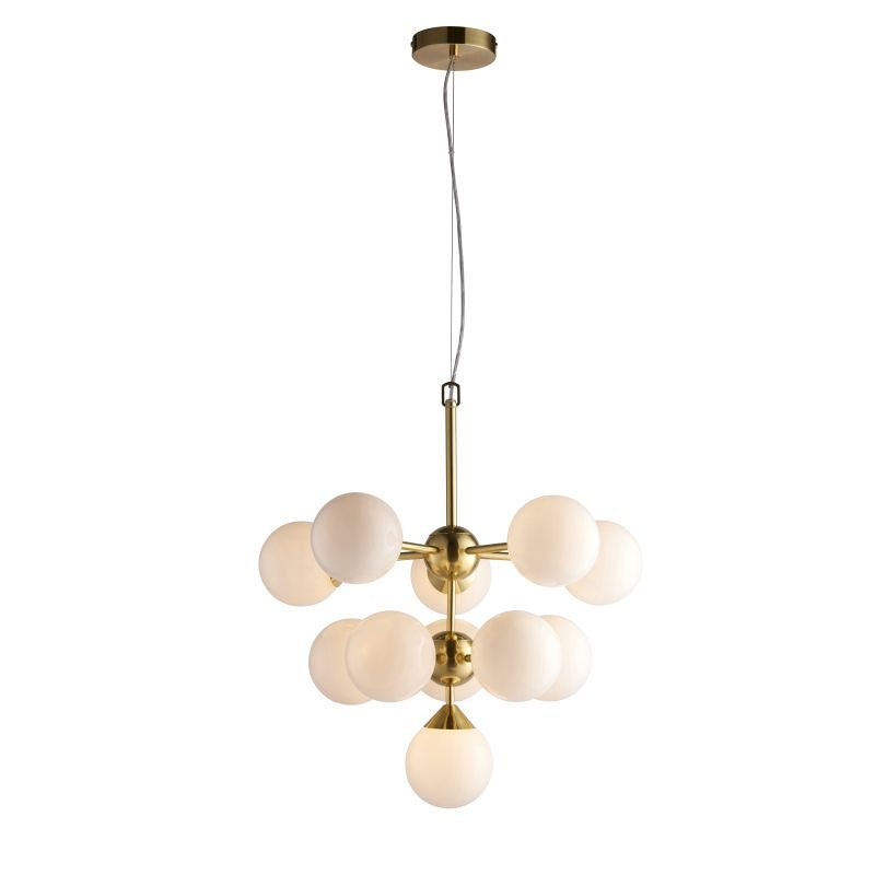 Endon-Collection-76500 - Oscar - Gloss White Glass & Brushed Gold 11 Light Centre Fitting