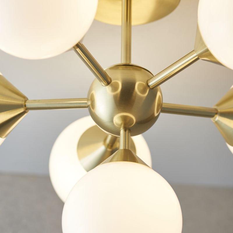 Endon-Collection-76501 - Oscar - Gloss White Glass & Brushed Gold 6 Light Semi Flush