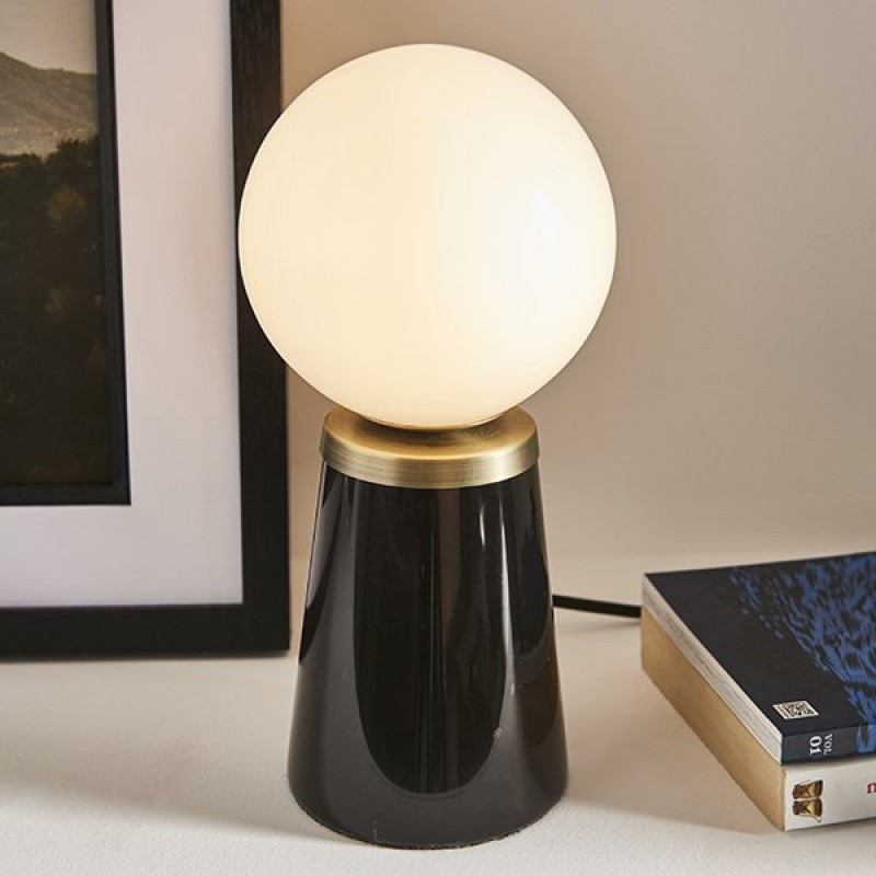 Endon-Collection-91743 - Otto - White Glass & Black Marble Table Lamp