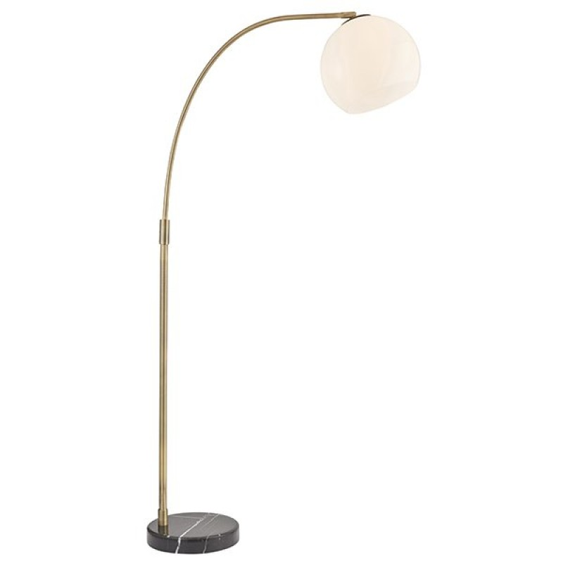 Endon-Collection-91744 - Otto - White Glass & Antique Brass Floor Lamp