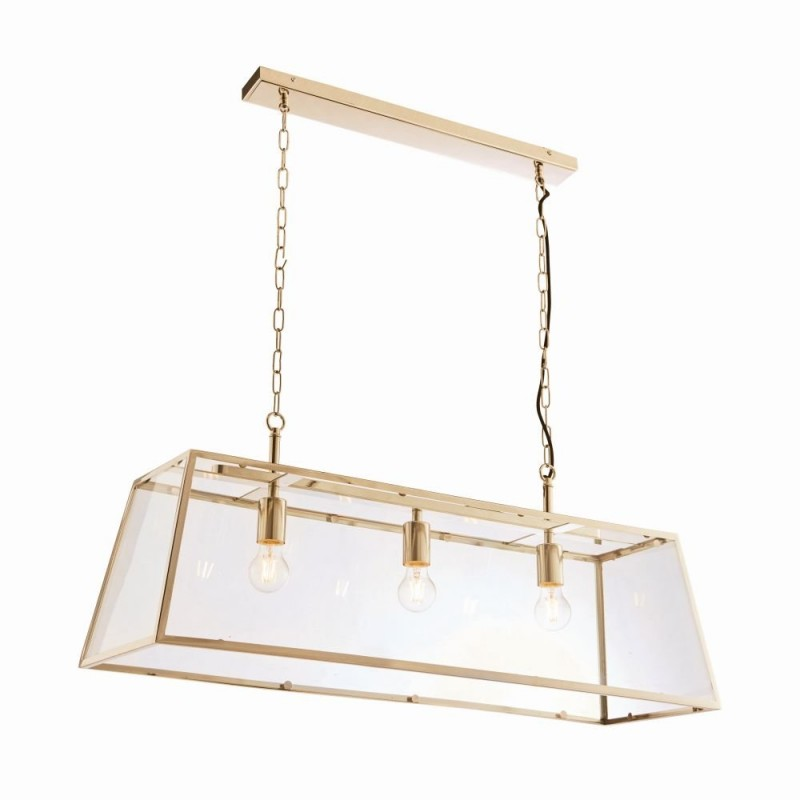 Endon-Collection-95836 - Hurst - Matt Antique Brass & Clear Glass 3 Light Lantern