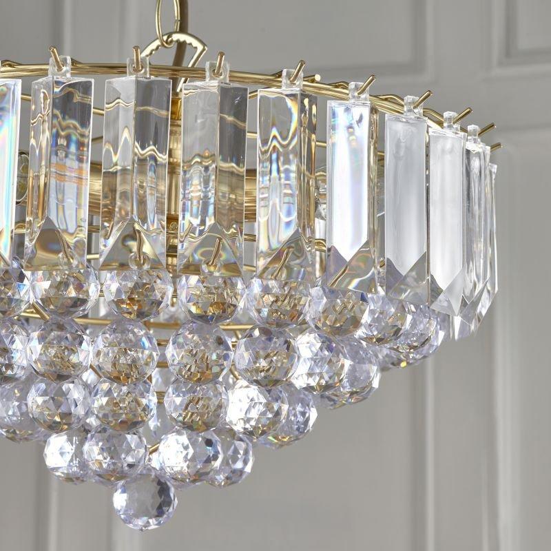 Endon-FARGO-14BP - Fargo - Brass with Acrylic Detailing 3 Light Hanging Pendant