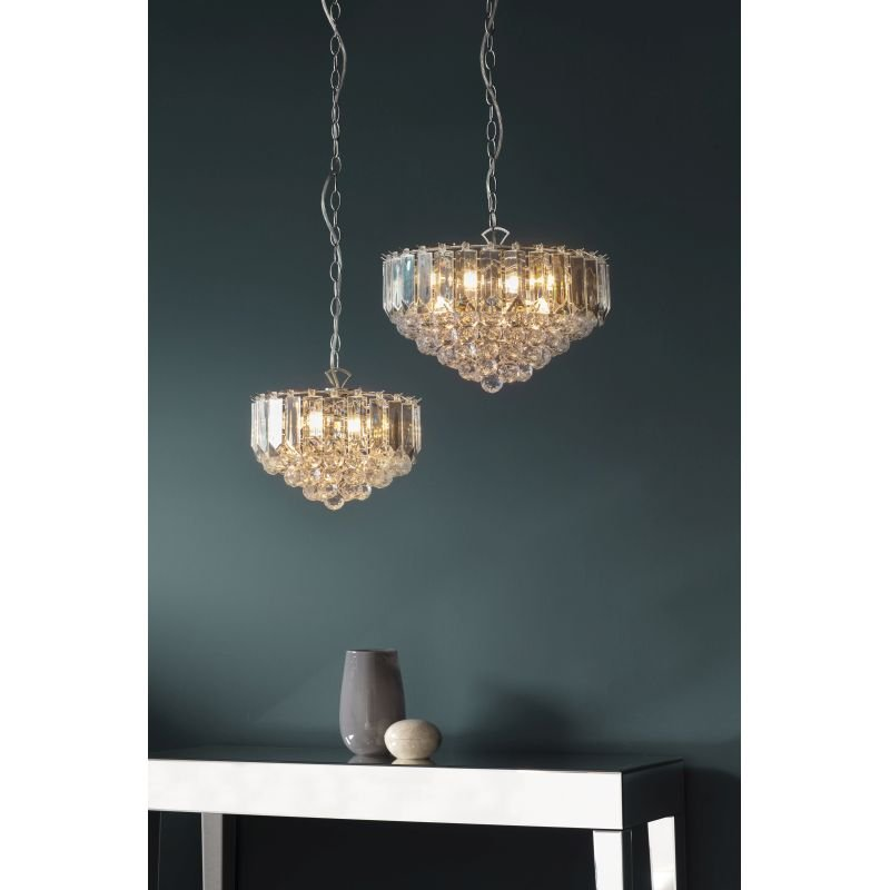 Endon-FARGO-12BP - Fargo - Brass with Acrylic Detailing 3 Light Hanging Pendant